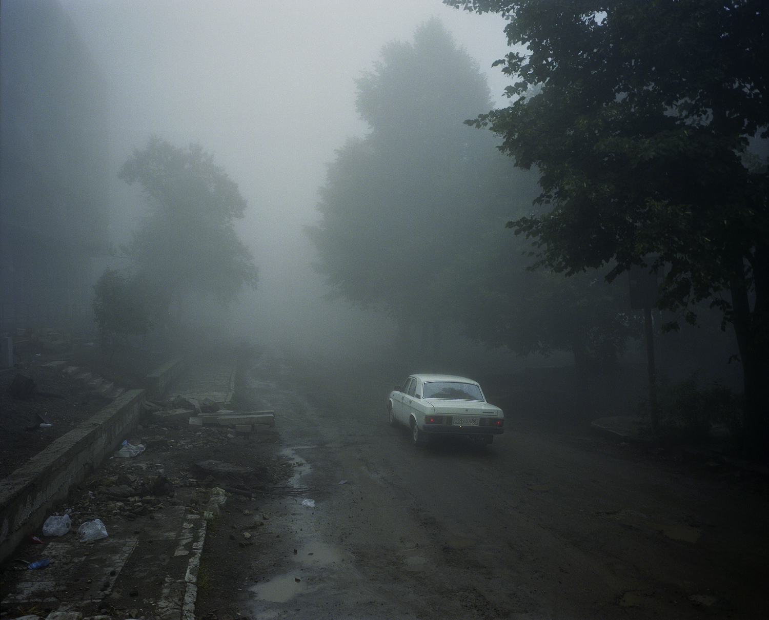 Shushi. Volga in the fog. Although the Karabakh war ended 20 years ago, many parts of town are still in ruins